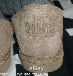 0079ae3848a Victoria S Secret Gray Pink Mukluks Knee High Sock Slipper Boots