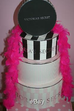 Victoria's Secret Hat Boxes Store Props Display Nesting Boxes Pink Black White