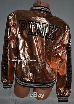 Victoria's Secret PINK 2016 Fashion Show Rose Gold Bomber Jacket Coat M/L NEW