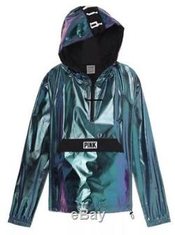 Victoria's Secret PINK Anorak HOODIE Jacket Metallic Chrome XS S Small FOIL NEW
