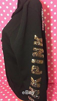 Victoria's Secret PINK Bling Black Perfect Full Zip Hoodie Sweater Medium NWT