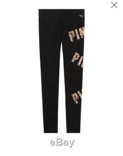 Victoria's Secret PINK Bling Campus Tee Dog Gold Flat Leggings Set Large