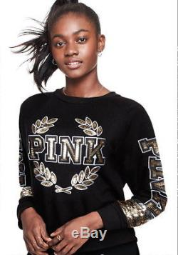 Victoria's Secret PINK Bling Logo Perfect Pullover Swearshirt Black Large L NWT