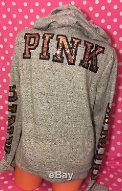 Victoria's Secret PINK Bling Perfect Full Zip Hoodie Sweater Large NWT