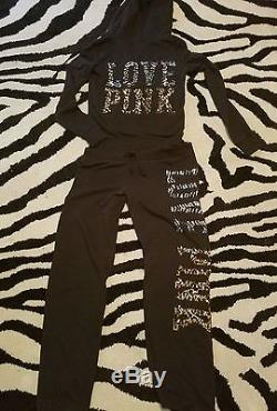 Victoria's Secret PINK Bling Sequin Animal Leopard Print 2 Pc Hoodie Pants HTF
