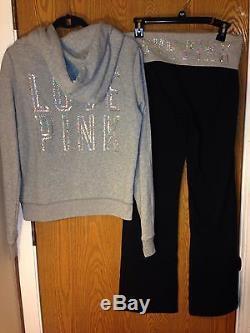 Victoria's Secret PINK Bling Sequin Hoodie & Bootcut Yoga Pants Set Medium NWT