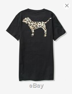 Victoria's Secret PINK Campus Tee Cheetah Leopard Leggings Set XL Large NWT