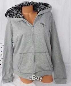 Victoria's Secret PINK Faux Fur Bling Hoodie Jacket Leopard Grey Sequin Medium M