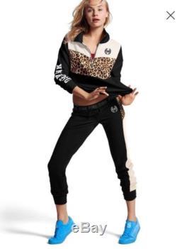 Victoria's Secret PINK Leopard Cheetah Outfit Set High Low Half Zip Gym Pant S
