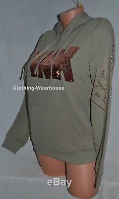 Victoria's Secret PINK Perfect Pullover Hoodie Olive Green Rose Gold Bling S NEW