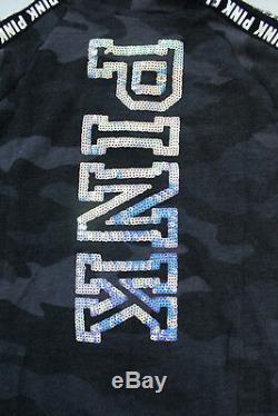 Victoria's Secret PINK Sequin Bling Perfect Full-Zip Hoodie Jacket Black Camo L