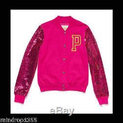 Victoria's Secret PINK Sequin Bling Varsity Jacket Hot Pink Medium NIP