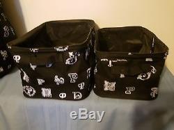 Victoria's Secret PINK Signature P Black White 2 Storage Bins Totes & Hamper Bag