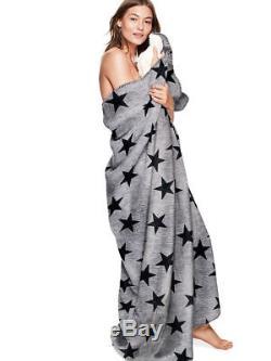Victoria's Secret PINK Super Cozy Sherpa Blanket Gray Marl Stars Print RARE