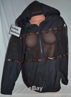 Victoria's Secret PINK VS Mesh Anorak Windbreaker Jacket Black Rose Gold M/L NEW
