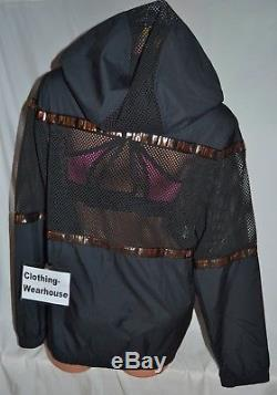 Victoria's Secret PINK VS Mesh Anorak Windbreaker Jacket Black Rose Gold XS/S