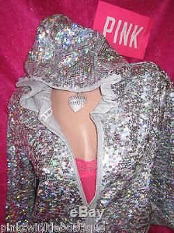 Victoria's Secret PiNK Hoodie Sweatshirt Fashion Show Sequin Jacket NWT