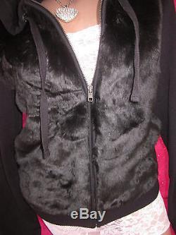 Victoria's Secret PiNK Hoodie Zipper Sweatshirt Plush Fur Bling Warm S Nwt