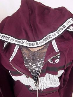 Victoria's Secret PiNK Sweatshirt Campus LONG Sweatpants Hoodie Orchid 2PC NWT