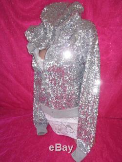 Victoria's Secret PiNK Sweatshirt Hoodie Fashion Show Sequin Bling XS NWT