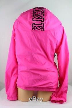Victoria's Secret Pink Anorak Winbreaker Sherpa Lined Hood Jacket Size M/l Ja41