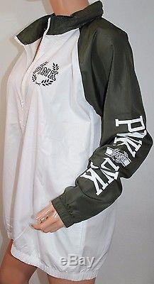 Victoria's Secret Pink Anorak Windbreaker Jacket Hoodie Medium/Large White NWT