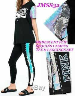 Victoria's Secret Pink Bling Iridescent Campus Tee Shirt & Leggings Set L NIP
