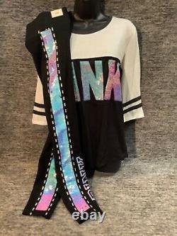Victoria's Secret Pink Bling Iridescent Tee Shirt + Leggings Set Flip Sequins M