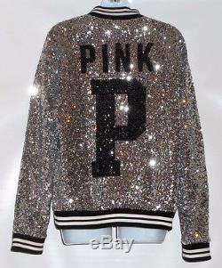 Victoria's Secret Pink Bling Sequin Varsity Letter Bomber Jacket Medium (M) NWT