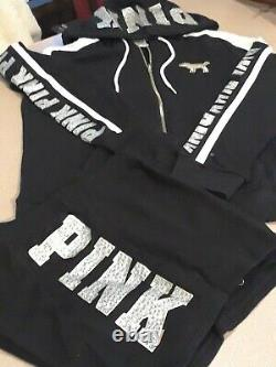 Victoria's Secret Pink Bling Silver Hoody & Logo Bling Shorts Set M Only 1
