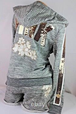 Victoria's Secret Pink Blink Sequin Hoodie Tank Top Shorts Set Size S/m/m Ss121