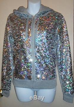 Victoria's Secret Pink Fashion Show Bling Sequin Hoodie Jacket XS NWT