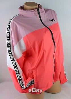 Victoria's Secret Pink Full Zip Anorak Windbreaker Jacket Logo M/l New Ja42