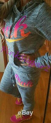 Victoria's Secret Pink Gray Neon Ombre Hoodie Skinny Gym Pants Sweats Set