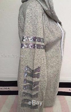 Victoria's Secret Pink Heather Gray Marl Marble Sequin Bling Zip Up Hoodie L