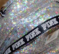 Victoria's Secret Pink Iridescent Silver Sequin Campus Backpack Bling New Rare