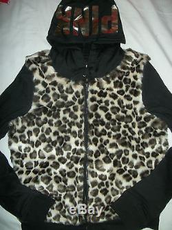 Victoria's Secret Pink Leopard Fur Slim Fit Hoodie Jacket