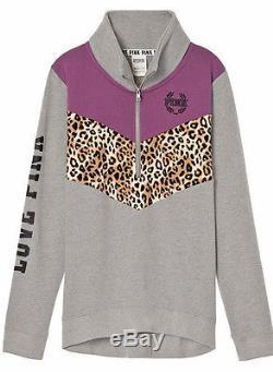 Victoria's Secret Pink Leopard High Low Mockneck Pullover & Gym Pants M NWT