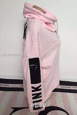 Victoria's Secret Pink Light Pink Black Bling Cowl Neck Pullover Sweater -L NIP