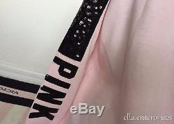 Victoria's Secret Pink Light Pink Black Bling Cowl Neck Pullover Sweater -S NWT