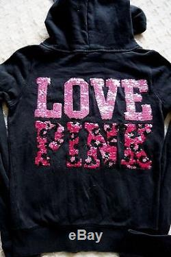 Victoria's Secret Pink Lounge Set Leopard Bling Zip Up Hoodie Shorts Outfit RARE