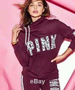 Victoria's Secret Pink Maroon Leopard Cowl Reflective High Neck Pullover Small S