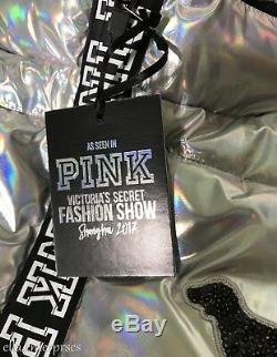 Victoria's Secret Pink Metallic Puffer Jacket Fashion Show 2017 Ltd Release L