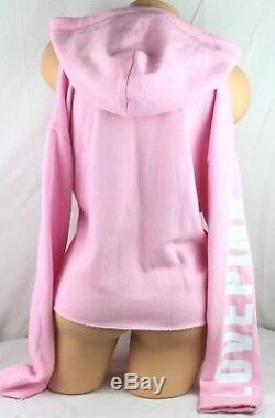 Victoria's Secret Pink Pullover Hoodie Logo Cold Shoulder Cropped Large Bl267