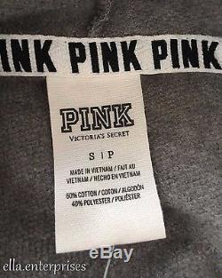 Victoria's Secret Pink Rainbow Ombre Sequin Bling Gray Full Zip Up Hoodie -S NWT