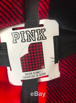 Victoria's Secret Pink Red & Black Plaid Holiday Soft Cozy Sherpa Throw Blanket