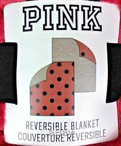 Victoria's Secret Pink Robe Dog Logo M/l And Matching Blanket Set Polka Dot New
