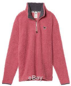 Victoria's Secret Pink Sherpa Boyfriend Quarter Zip Pullover Soft Begonia L NWT