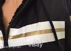 Victoria's Secret Pink Sherpa Lined Anorak Black White Gold Zip Up Jacket XS/S