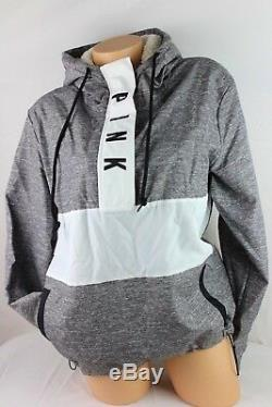 Victoria's Secret Pink Sherpa Lined Hoodie Anorak Windbreaker Jacket Xs/s Ja44